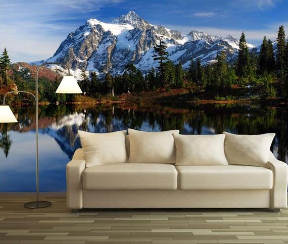 3д обои озеро в горах