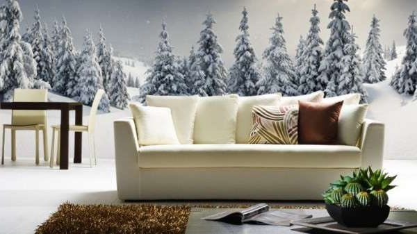 3д обои снежный лес