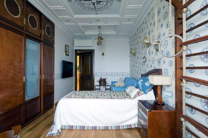 интерьер спальни в морском стиле фото